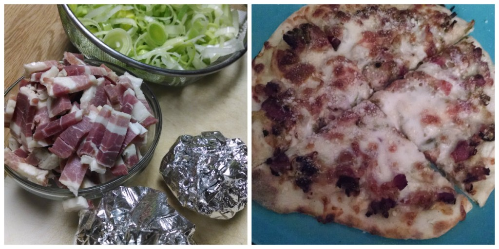 bacon and leek pizza